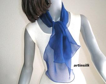 Cobalt Sapphire Blue Scarf, Girl chiffon Ponytail Scarf, Small Neck Hair Scarf, Red Pony tail White Hat Ribbon, Black Headband, Artinsilk