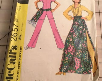 Vintage Sewing Pattern, McCall's 2657, size 10 misses jumpsuit, skirt 1970