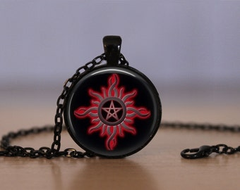 Wiccan Pendant Necklace Witchcraft Pagan Black Sun Mens Womens