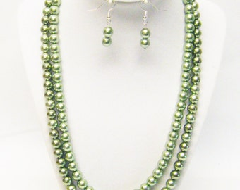 Two Strand Dark Olive Glass Pearl Necklace & Earrings Set