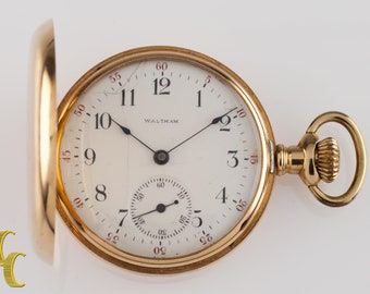 14k Yellow Gold Waltham Seaside Full Hunter Pocket Watch Size 6S 7 Jewels 1901
