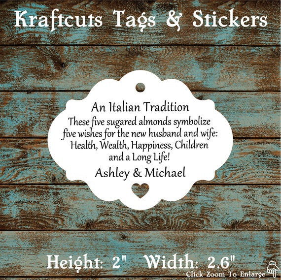 Favor Tags, Jordan Almond Favor Tags, Sugared Almond Favor Tags, Italian Wedding Favor Tags with Heart Cut Out #612 - Quantity: 30 Tags