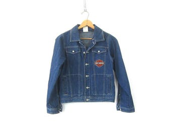 90s HARLEY DAVIDSON Jean Jacket Cropped Denim Coat Vintage Dark Wash Motorcycle Biker Grunge Jacket Women's Size Medium
