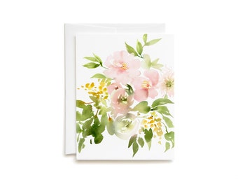Blush Garden Bouquet Blank Greeting Card
