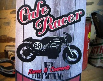Café racer metal plate