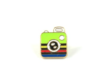 Camera enamel pin, Camera enamel brooch, Picture enamel brooch