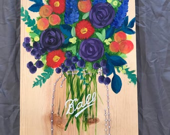 Acrylic painting flowers on wood string art