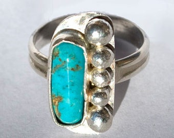Turquoise Ring - Native American Ring - Southwestern Ring - Sterling Silver Ring - Size 7.5 Ring - Genuine Turquoise Ring - Designer Ring
