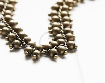 One Foot Handmade Oxidized Brass Fancy Chains-Multiple Balls 9.4mm (HFB9.4-02)