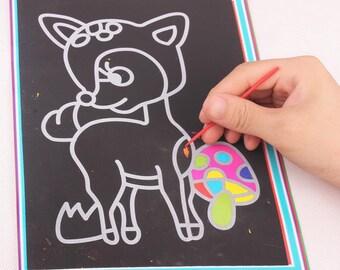 Kids arts and crafts scratch art paper