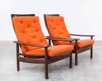 Pair of teak wooden scandinavian lounge chairs - vintage danish sofa - scandinavian furniture - teak wooden chairs - vintage design chairs