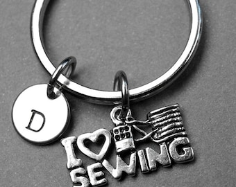 I love sewing Keychain, I heart sewing Keychain, sewing keychain, personalized keyring, initial keychain, monogram keychain, hand stamped