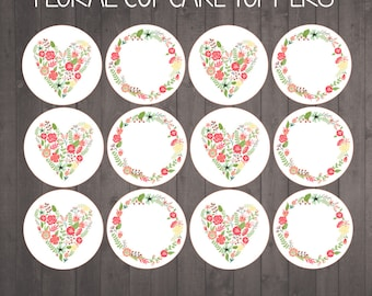 INSTANT DOWNLOAD -floral cupcake toppers for a flower themed party - PRINTABLE