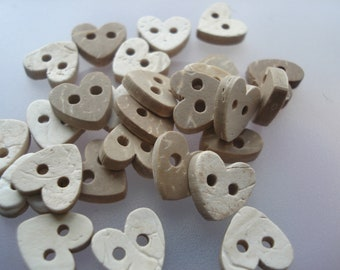 100 Carved Coconut Buttons, 10mm 2-hole Heart Shaped Buttons, 25 Coconut Buttons, 4p Each!! CO07
