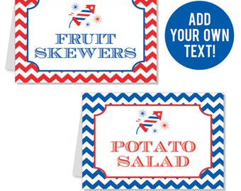 EDITABLE INSTANT DOWNLOAD 4th of July Fireworks Buffet Cards - Editable, printable table tent cards