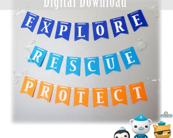Octonauts Printable Banner, First Birthday Party Supplies, 1st Boy Download Decorations, Explore, Rescue Captain Barnacles Kwazii Dashi Peso