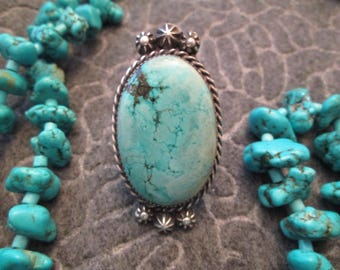 Gorgeous Navajo Dead Pawn Genuine Tyrone Turquoise & Sterling Ring >>High Grade Beautiful Light Blue Stone -JNR102