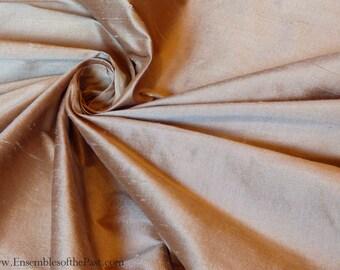 """Silk Fabric - Tan dupioni - 100% silk dupioni - Rose Gold Tan Silk - by the yard - 55"""" Wide - EP Silk #74"""