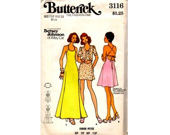 Butterick 3116 BETSEY JOHNSON Stretch Low Back Mini or Maxi Dress & Bolero 70s Vintage Pattern Size 11 Jp Bust 34 inches UNCUT Factory Folds