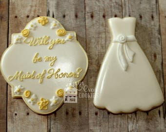 Will You Be My Bridesmaid or Maid of Honor Decorated Sugar Cookies Gift Boxed Set