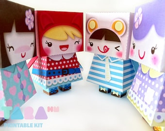 DIY Printable Cutout Dolls Set of 4, DIY Paper Toy, Printable Dolls, Kawaii Dolls, TaraDolls, Paper Dolls, Educational Toy, Art Toy