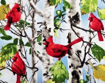 Bird Fabric Cardinal Fabric Red Cardinal Fabric Male / Female Cardinal Fabric TImeless Treasures Cotton Sewing Fabric Quilting Fabric