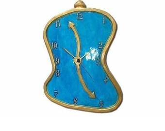 clock, dali clock, blue, surrealistic clock