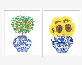 Blue & White China Vase: Oranges and Sunflowers Poster PRINTABLE FILE set of 3 prints, kitchen art, chinoiserie art, ginger jar