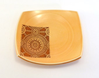 Lunch plate: Medium squared plate porcelain plate amber glaze small porcelain plate square plate altered plate amber toast plate side plate