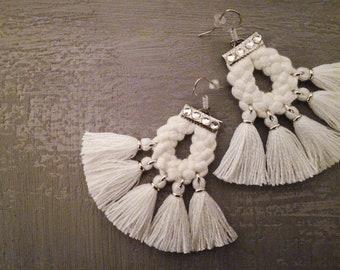 White Tassel Earrings, Bohemian Wedding Earrings, Boho Bride Earrings, Fringe Earrings Tassel Jewelry, Statement Earrings