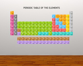 Wall Decal Periodic Table of Elements Chemistry Atomic Numbers Chemicals Educational Sticker