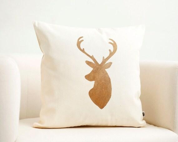 Deer Head Pillow Cover Reindeer Christmas Pillow Gold Print