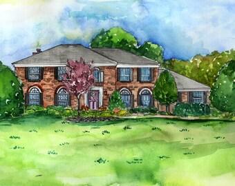 Watercolor house portrait, custom art from photo, House Illustration, Housewarming, Custom house portrait