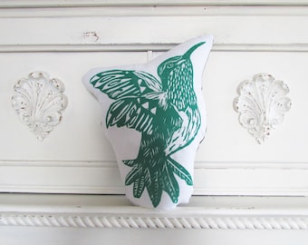 Hummingbird Shaped Animal Pillow. Hand Woodblock Printed. Choose Any Color. Made to Order. Xmas Order deadline DEC 3rd