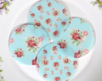 Edible Blue Cottage Chic Rose Floral Chintz Cyan Wafers Rice Paper Summer Flower Wedding Spring Cake Decorations Cupcake Cookies Toppers RTD