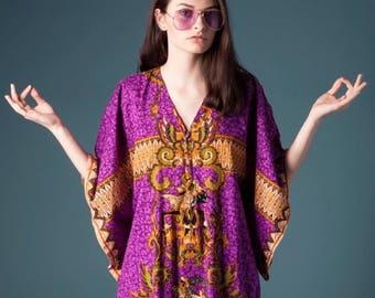 Vintage Dashiki purple kaftan maxi dress
