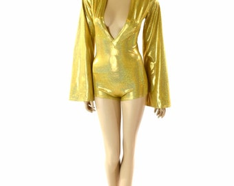 Gold Sparkly Jewel Plunging V Neckline Romper with Bell Sleeves Rave Festival Onsie 152279