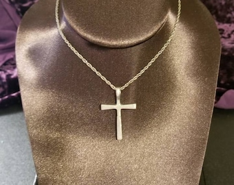 Operation Word Drop repurposed silver Toned Cross Necklace.