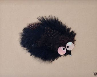 Table sculpture Hedgehog feathers