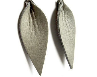 Pale Sage Gray Leather Leaf Earrings: Joanna Gaines Inspired Leather Leaf Earrings Green/Gray // Leafy Treetop Leather