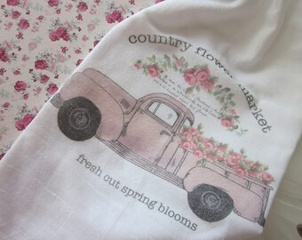 RETRO Country FLOWER Market Shabby Flour Sack Kitchen Towel GIFT