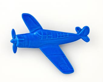Vintage Royal Blue Enamel Airplane Metal Pin Brooch