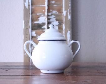 Vintage French Enamel Sugar Bowl // Kitchenwares