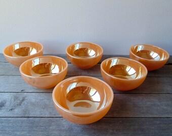 Vintage Anchor Hocking Peach Lustre Bowls
