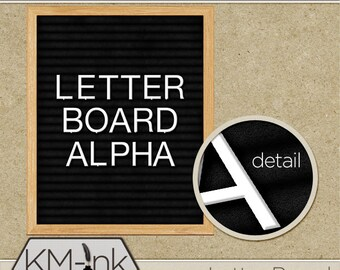 Digital Letter Board Alphabet - Board, alpha, bonus papers and shadow included - Instant download