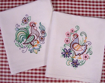 Rooster and Hen Kitchen Towels Vintage Style Machine Embroidered