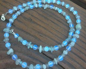 Aquamarine, Labradorite and Opalite Necklace