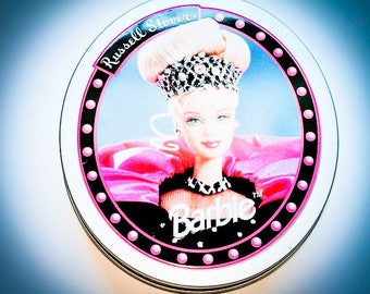 Vintage Mattel Barbie Doll Russell Stover Oval candy Tin Rare