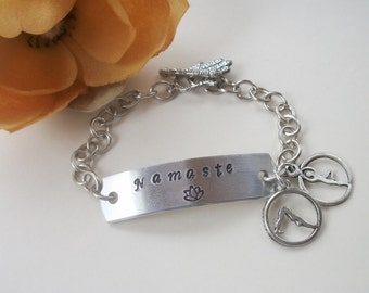 Namaste Yoga Bracelet - Handstamped Aluminum - Hamsa Clasp - Yoga Charms - Antique Silver Bracelet