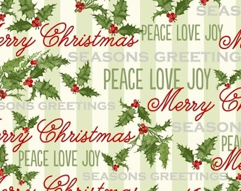 Christmas Fabric, Christmas Word Fabric - Seasons Greeting by Whistler Studio for Windham Fabrics - 40289 - Priced by the Half Yard